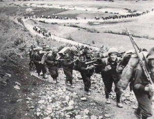 The Julia Alpini Division on the march into battle