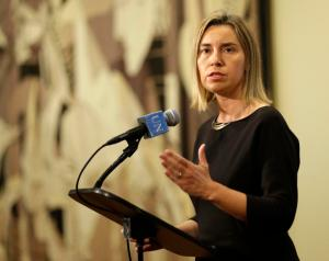 Federica Mogherini, the high representative of the European Union for foreign affairs, speaks to reporters after a security council meeting at United Nations headquarters, Monday, May 11, 2015. The European Union's top diplomat has assured the U.N. Security Council that under a proposed EU maritime operation against the growing wave of migrant smuggling,